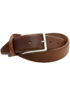 Premium Italian Leather Belt - Textured Finish - Cognac