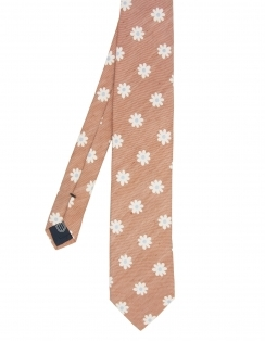 Premium Woven Silk & Linen Tie - Orange Flowers
