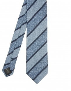 Premium Woven Silk Tie - Large Blue Stripe