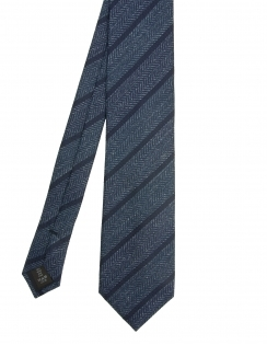 Premium Woven Silk Tie - Large Navy Stripe