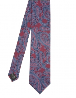 Premium Woven Silk Tie - Large Red Paisley