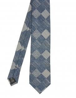Premium Woven Silk Tie - Square Navy Pattern