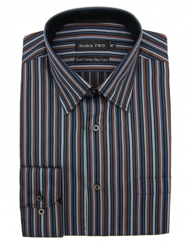 Double Two Pure Cotton Brown Stripe Formal Shirt