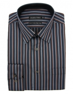 Pure Cotton Brown Stripe Formal Shirt