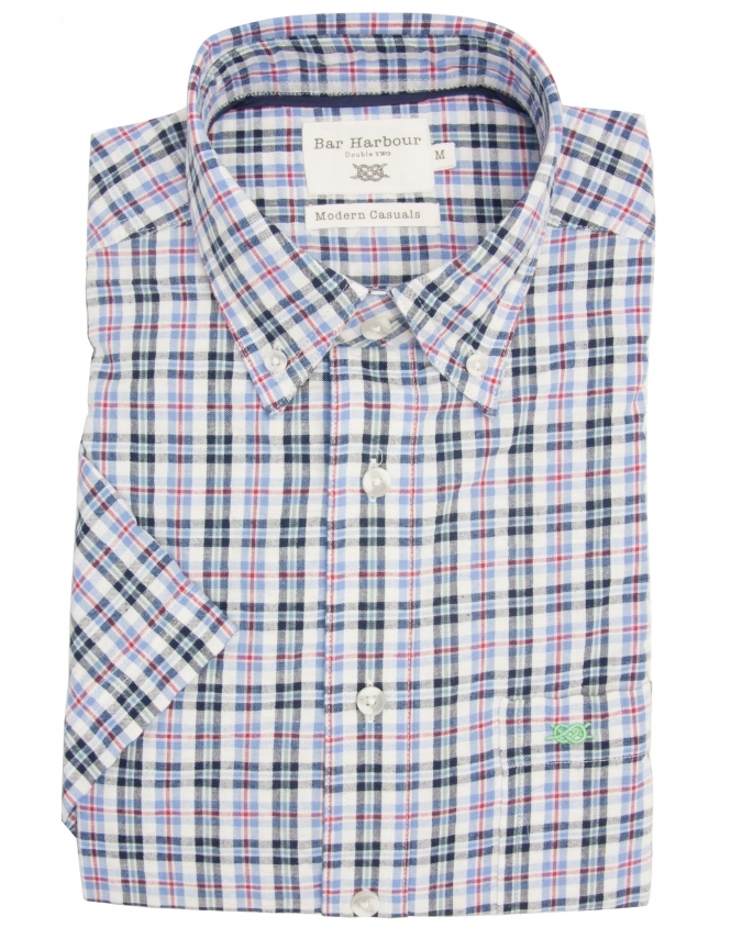 Bar Harbour Pure Cotton Button Down Half Sleeve Check Shirt - Blue