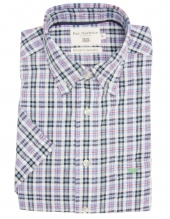 Pure Cotton Button Down Half Sleeve Check Shirt - Blue