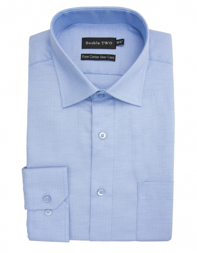 Double Two Pure Cotton Easy Care Herringbone Shirt - Blue