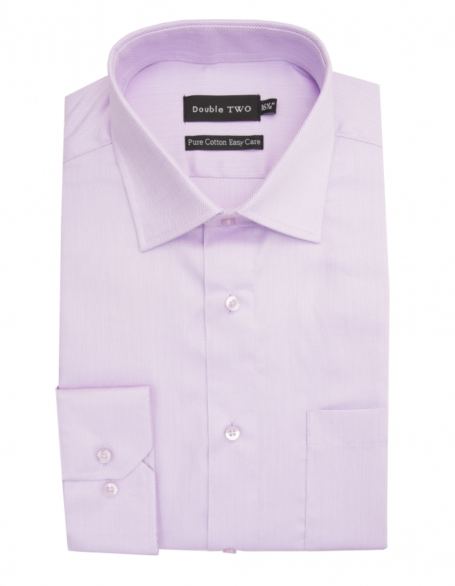 Double Two Pure Cotton Easy Care Herringbone Shirt - Lilac