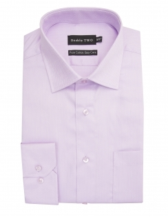 Pure Cotton Easy Care Herringbone Shirt - Lilac