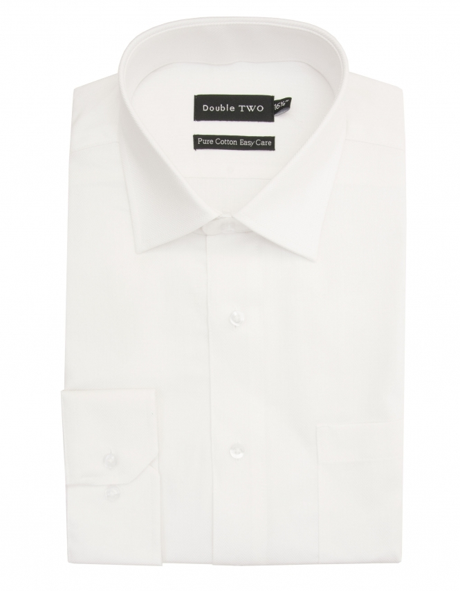 Double Two Pure Cotton Easy Care Herringbone Shirt - White