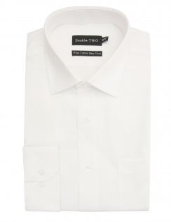 Pure Cotton Easy Care Herringbone Shirt - White