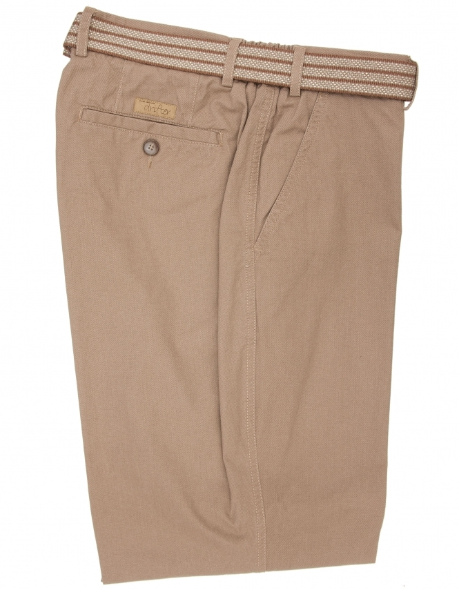 Drifter by Daniel Grahame Pure Cotton Elasti Waist Trouser-Tan