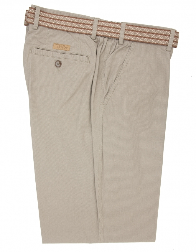 Drifter by Daniel Grahame Pure Cotton Elastic Waist Trouser-Beige