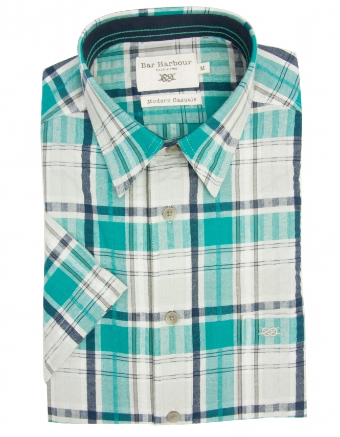 Bar Harbour Pure Cotton Half Sleeve Check Shirt - Mint