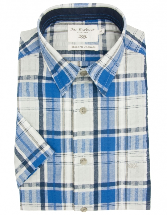 Bar Harbour Pure Cotton Half Sleeve Check Shirt - Navy