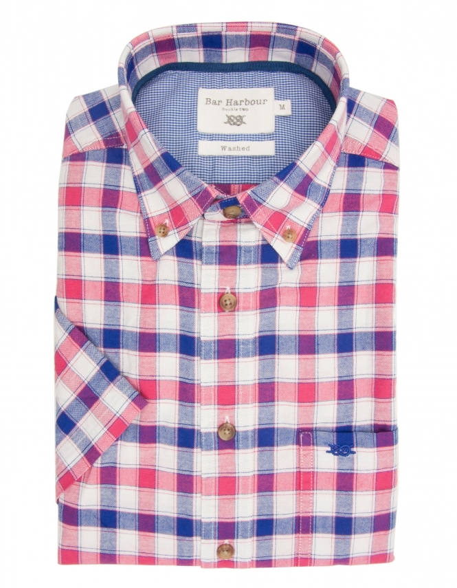 Bar Harbour Pure Cotton Half Sleeve Check Shirt - White Blue Red