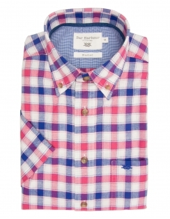 Pure Cotton Half Sleeve Check Shirt - White Blue Red