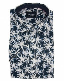 Pure Cotton Half Sleeve Palm Print Shirt - Navy