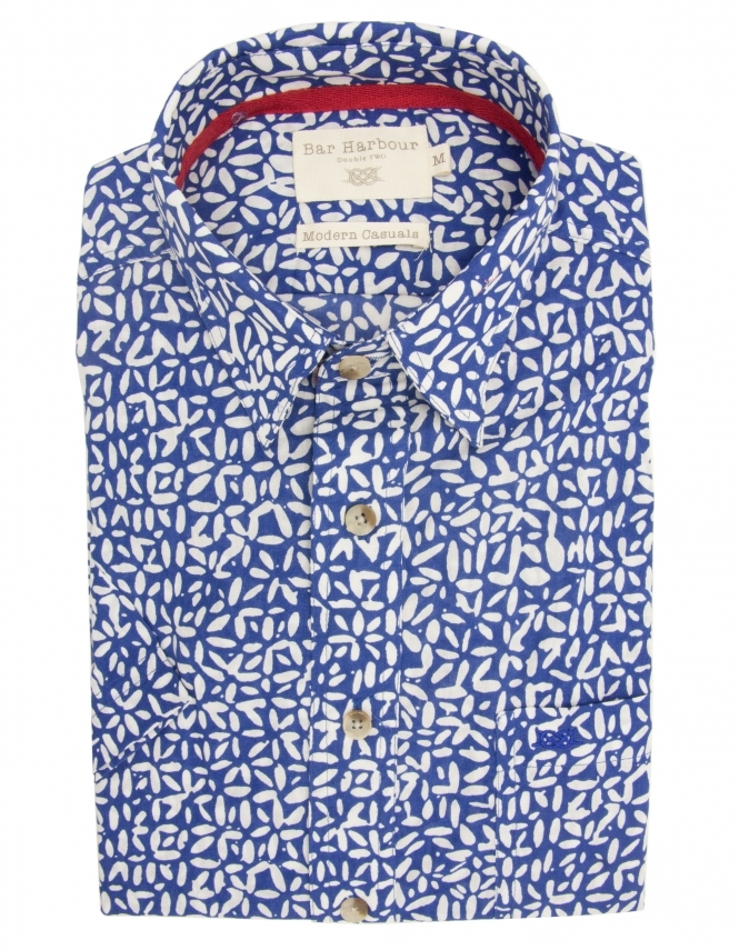 Bar Harbour Pure Cotton Half Sleeve Patterned Shirt - Blue