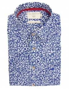 Pure Cotton Half Sleeve Patterned Shirt - Blue