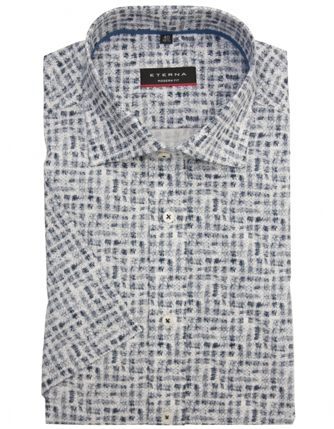 Eterna Pure Cotton Half Sleeve Patterned Shirt - Blue & White