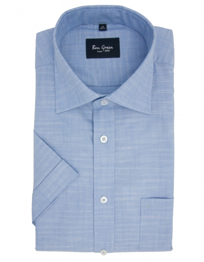 Ben Green Pure Cotton Half Sleeve Shirt - Light Blue