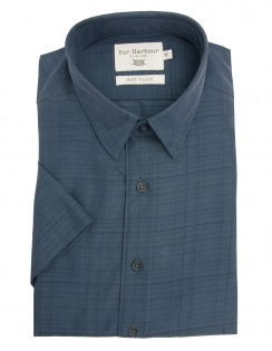 Pure Cotton Half Sleeve Tonal Check Shirt - Navy