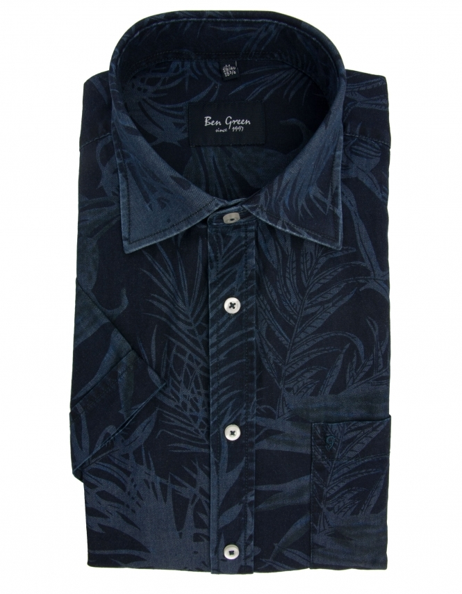 Ben Green Pure Cotton Half Sleeve Tonal Tropic Shirt - Navy