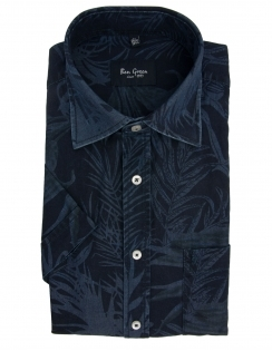 Pure Cotton Half Sleeve Tonal Tropic Shirt - Navy