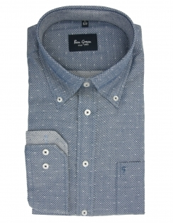 Pure Cotton Long Sleeve Button Down Patterned Shirt - Blue