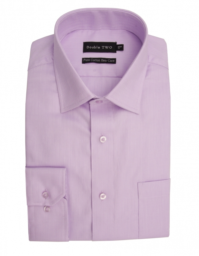 Double Two Pure Cotton Long Sleeve Herringbone Shirt - Lilac