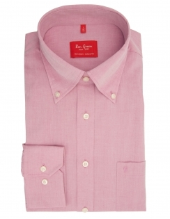 Pure Cotton Long Sleeve Plain Button Down Shirt - Magenta