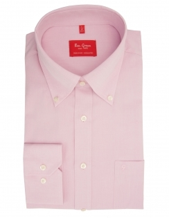 Pure Cotton Long Sleeve Plain Button Down Shirt - Pink