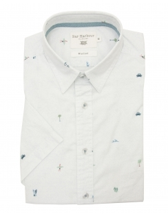 Pure Cotton Patterned Print Half Sleeve Shirt - White