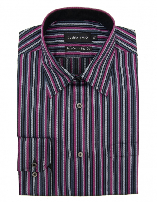 Double Two Pure Cotton Purple Stripe Formal Shirt