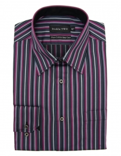 Pure Cotton Purple Stripe Formal Shirt