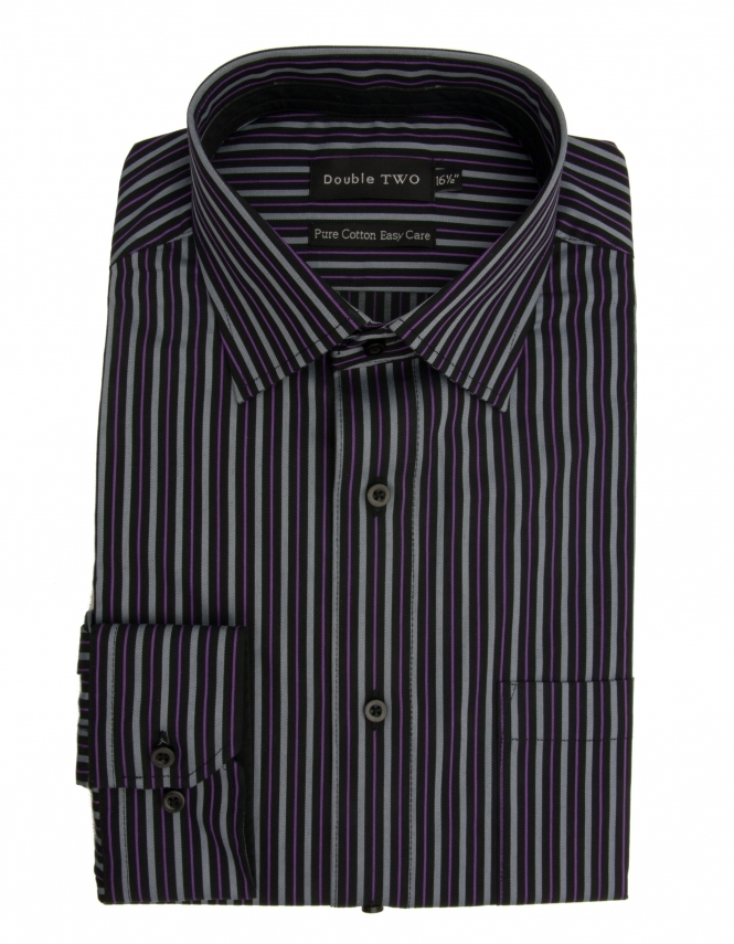 Double Two Pure Cotton Striped Shirt - Black Grey
