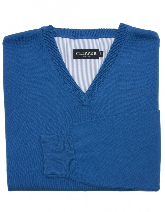 Clipper Pure Cotton V-Neck Jumper - Indigo