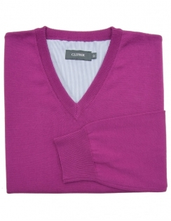 Pure Cotton V-Neck Jumper - Magenta