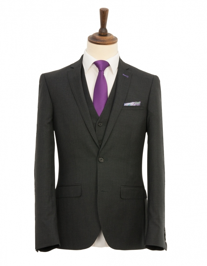 Harry Brown Pure Wool 3 Piece Slim Fit Suit - Charcoal