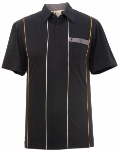 Ribbed Contrast Jersey Shirt - Black