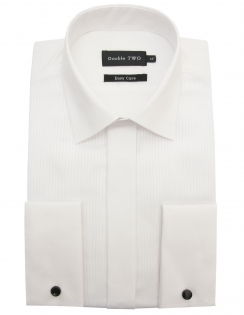 Ribbed Pique Dress Shirt with Standard Collar