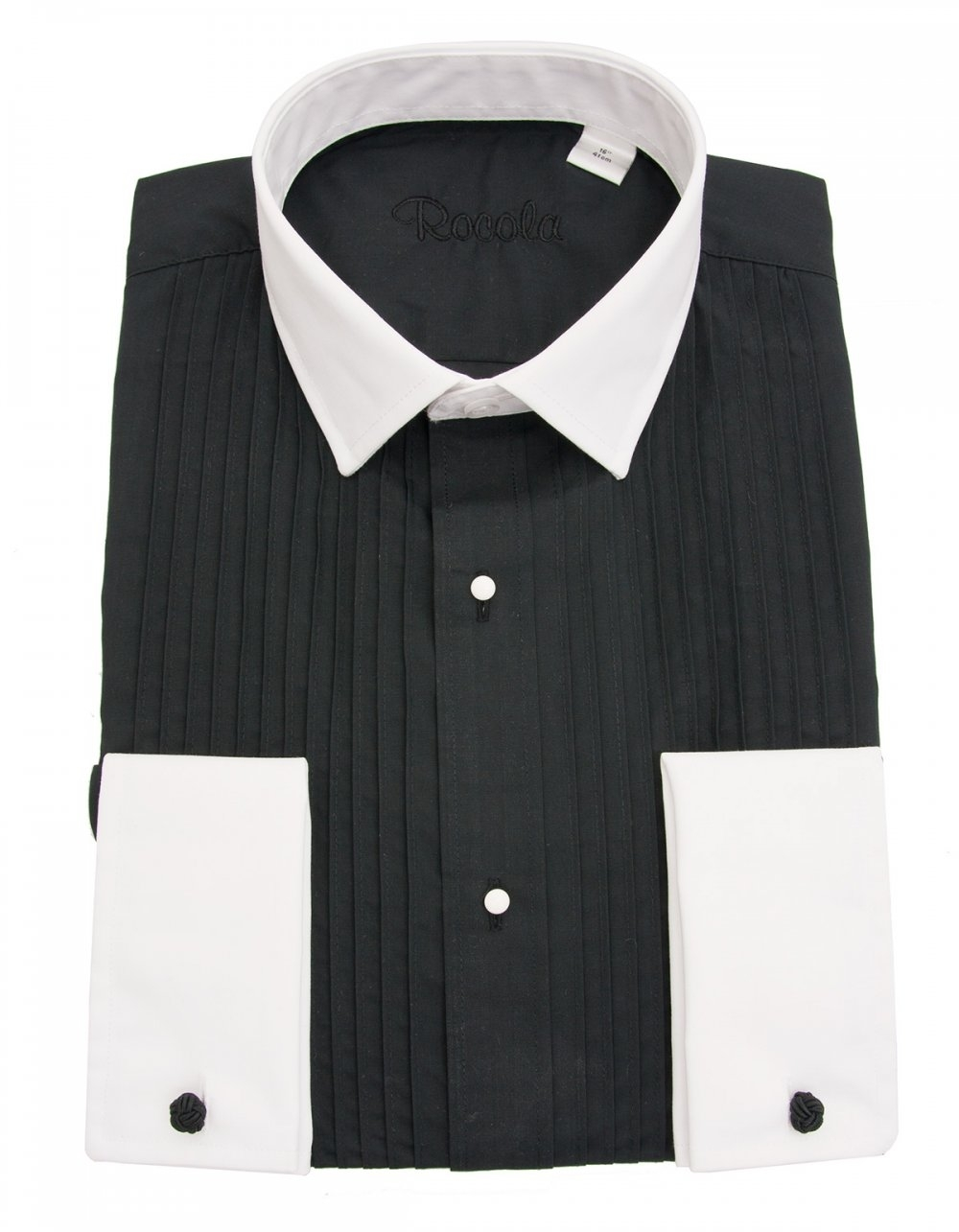 rocola black pleat dress shirt with white contrast collar