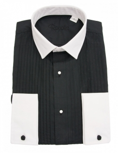 Rocola Black Pleat Dress Shirt with White Contrast Collar and Cuffs