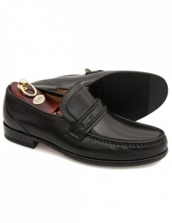 Rome Nappa Leather Moccasins - Black