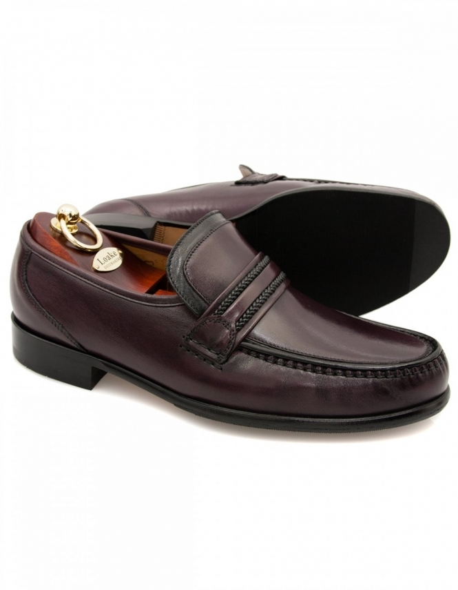 Loake Rome Nappa Leather Moccasins - Burgundy