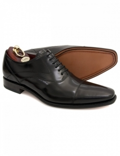 Sharp Black Polished Oxford Toe Cap