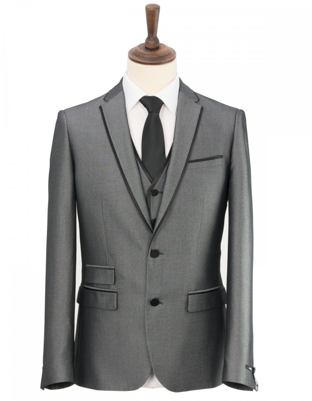 Harry Brown Slim Fit 3 Piece Prom Suit - Silver - Suits from
