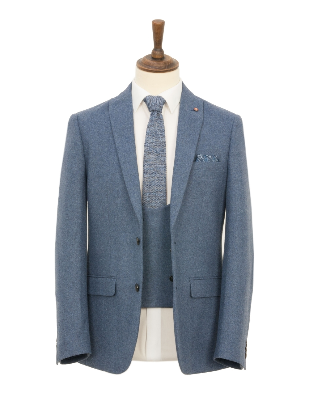 a6745635419c Slim Fit 3 Piece Tweed Suit - Light Blue