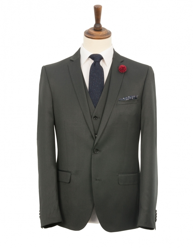 Harry Brown Slim Fit Birdseye 3 Piece Suit - Charcoal